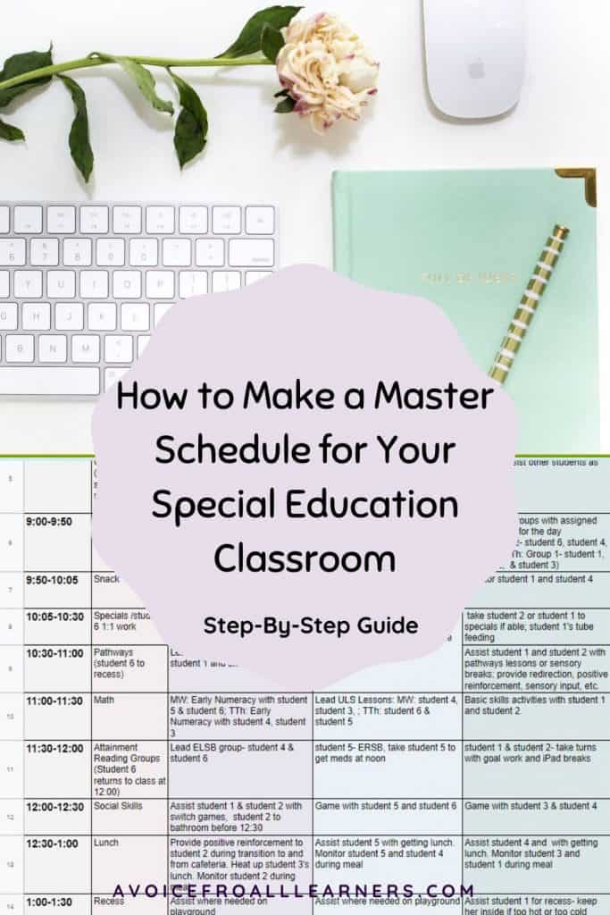 How to create a master schedule for your special educaiton, self-contained classroom.